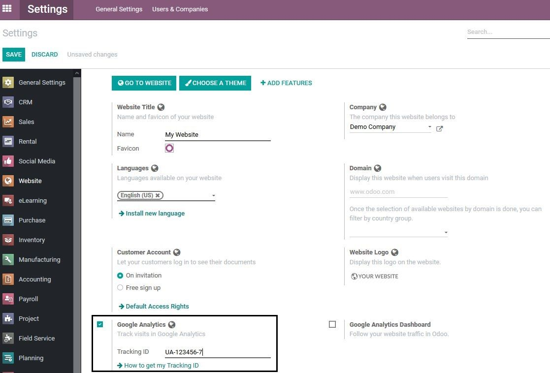 Eingabe der Tracking ID in Odoo