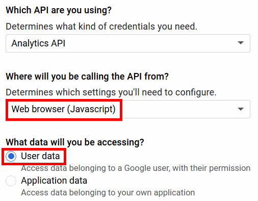 Konfiguration der Analytics API in der Google API Console